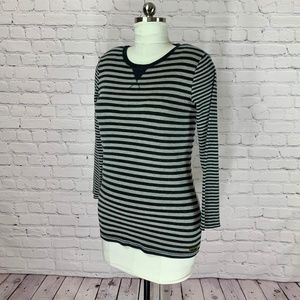 Calvin Klein Gray Striped Henley 3/4 Sleeve Tee XL